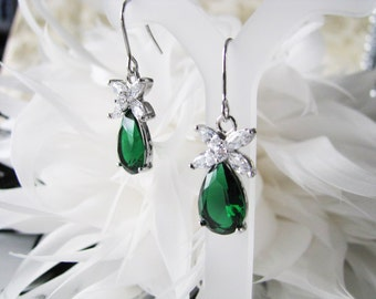 Emerald Green cubic zirconia bridal, wedding gift, bridesmaid, bridesmaid earrings, bridal earrings, bridal jewelry, bridesmaid jewelry