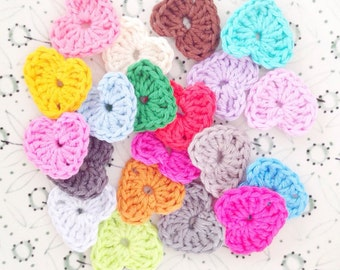Crochet Mini Heart Embellishments - Set of 20 (1.4 inch)