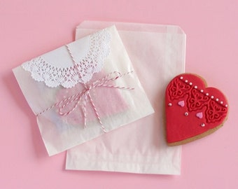 Glassine Bags 50 Flat Treat Glassine Bag - MEDIUM 3 x 5.5 Favor Bags Gift Wrap Favors