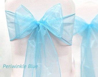 Organza Chair Sashes  Light   Blue   8 X 108  Wedding Birthdays corporate Events  Pew Bows Ships flat