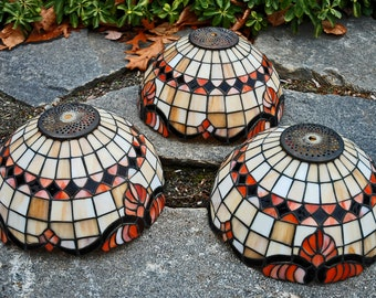 "Orange/Brown 12"" Stained Glass Lamp Shades"