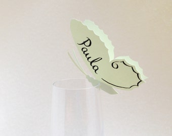 30 Place Cards, Butterfly Themed Wedding, Decor for Wine Glass, Event, Original calligraphy, Cutout, Scrapbook, Papercut by Naboko