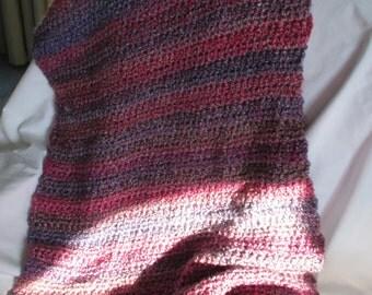 Crochet comfort shawl wrap - Mixed Berries Homespun