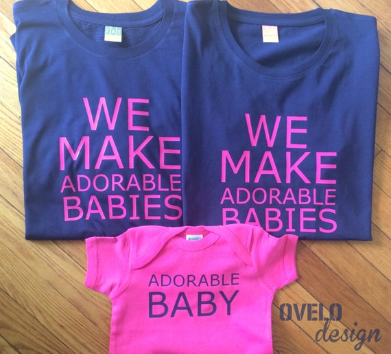 We Make Adorable Babies Set for new Mom and Dad in Navy and Hot Pink combo