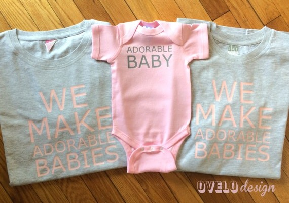We Make Adorable Babies Set for new Mom and Dad in Heather Grey and Light Pink combo