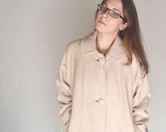 Wool Trench Coat - 1960s Mid Century Cream Beige Overcoat - Vintage Abbmoor Womens Winter Coat - Large L
