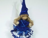 Small Hanging Fairy, Blue and White Fairy, Hand Crafted Flower Fairy, Hang Her in Your Car