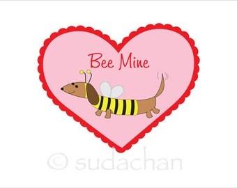 Dachshund Valentine Bee Mine - Wall Art Print