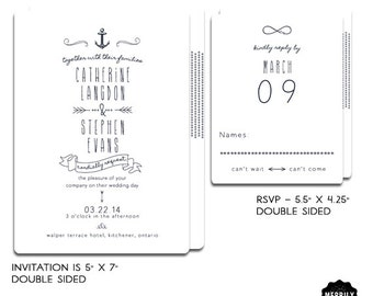 Nautical Wedding Invitation Suite Youre My Anchor Modern Set With