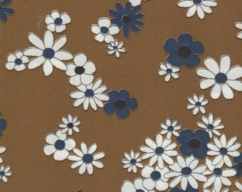 1 yard - Vintage 60s Rust/Blue Floral Tricot Knit Fabric