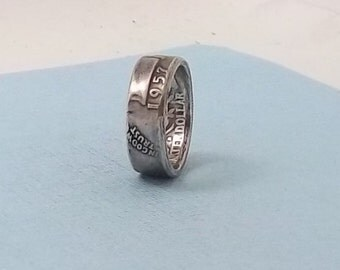 Price Reduction, Silver coin ring washington quarter year 1957 size 7   90% fine silver ring jewelry
