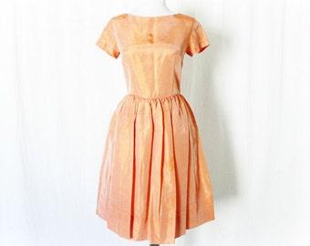 Vintage 60s Iridescent Orange Party Dress M  Short Sleeve Knee Length