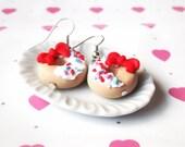 Doughnut Earrings ( miniature doughnut food earrings donut earrings bow doughnuts mini food earrings food miniature polymer clay )