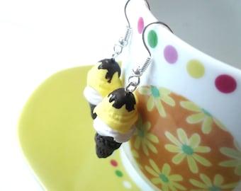 Chocolate Ice Cream ( ice cream earrings food earrings polymer clay jewelry ice cream cone yellow earrings miniature ice cream )