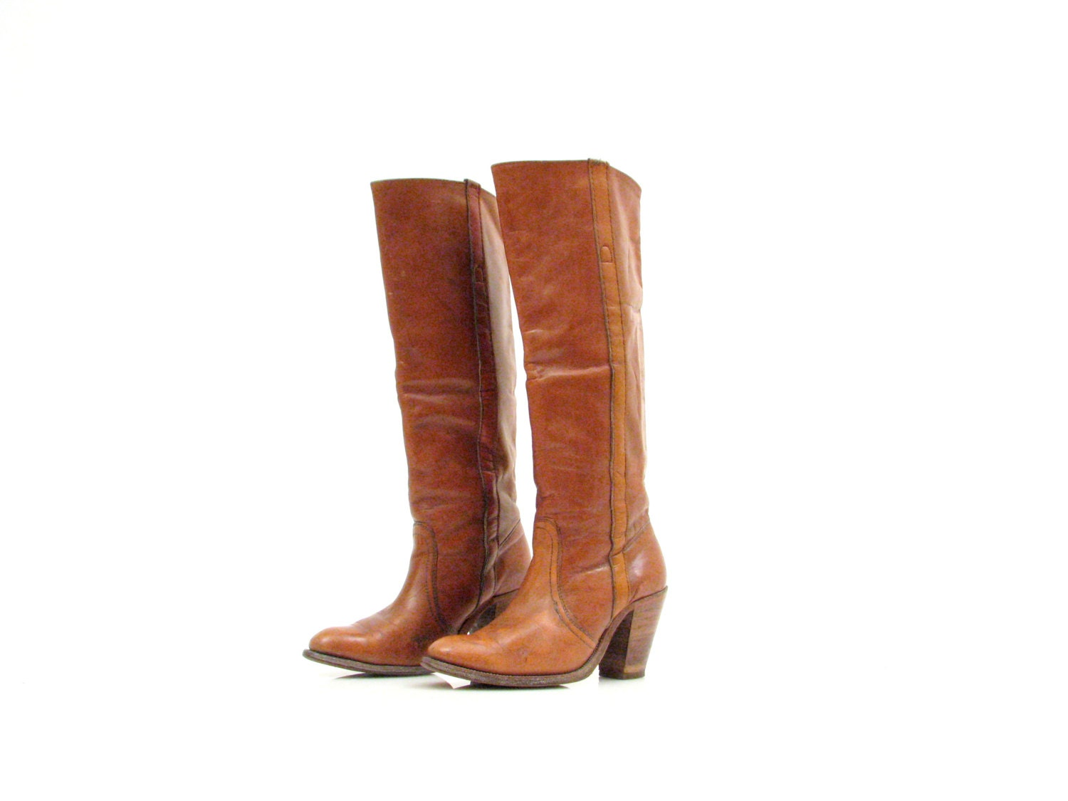 frye boots vintage leather cus boots high heel