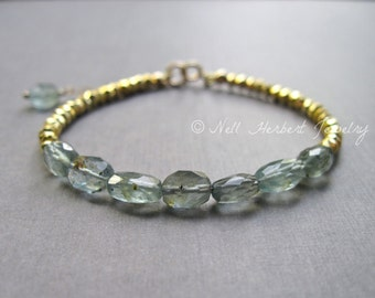 Moss Aquamarine and Pyrite Bracelet, Gemstone Bracelet in Gold, 14K Gold Filled Aquamarine Bracelet