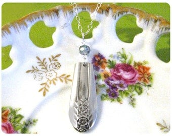Belfry Spoon Necklace w/ faceted smoke grey, glass bead, Upcycled, Bridesmaid Gift, Vintage Wedding