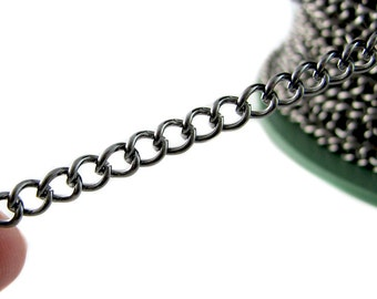 Gunmetal Chain : 16 feet (5 meters) Gunmetal Twist Oval Chain / Gunmetal Curb Chain 4mm x 5.8mm x 1mm -- Lead, Nickel & Cadmium Free 74025