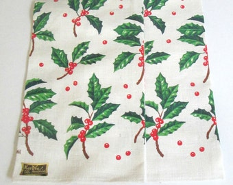 New Vintage Christmas Ivy Towels / Kay Dee Handprints / Set of Two Pure Linen Holiday Towels
