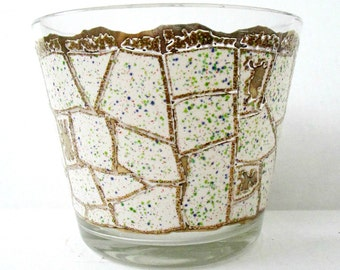 Starlyte Glass Ice Bucket Gold Confetti Mid Century Modern Bar