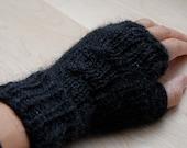 Black Alpaca Blend Fingerless Gloves