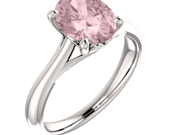 Natural AAA 10x8mm Oval  Morganite  Solid 14K white Gold  SolitaireEngagement  Ring Set- ST233566  @@@Special for you@@@
