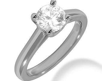 1/2ct GIA Certified Diamond Solitaire  Engagement Ring In 14k White Gold SR287