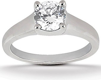 1 ct 6.5mm  Round Forever Brilliant Moissanite Solid 14K White Gold  Solitaire  Engagement Ring-ENR541