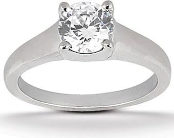 1 ct 6.5mm  Round Forever Brilliant Moissanite Solid 14K White Gold  Solitaire  Engagement Ring-ENR541