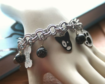 Black and White Dog Charm Bracelet