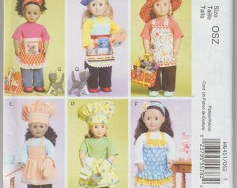 "18""doll outfits Pattern McCall's 6451  Apron, cat shirt, pants, oven mitt  and more  FREE US SHIPPING"