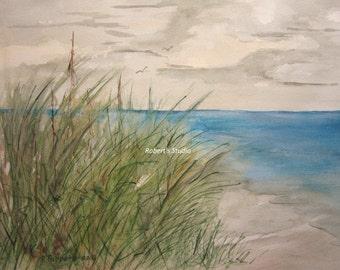 Beach Grass, Print of Original Watercolor Painting, beach painting, beach art, beachscape, landscape, ocean, beach shore, archival print