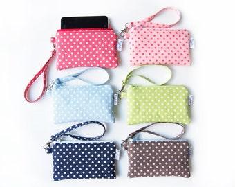 Wristlet iPhone / Camera Case / Coin Purse - Mini Polka Dot (Choose Your Color)