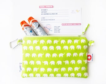 EpiPen / Medical Pouch with an Optional Adjustable Shoulder Strap, Medical ID Card, and a Carabiner - Green Elephant (Waterproof Fabric)