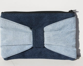 Bow Clutch Recycled Denim two tone with Black Satin lining, black zipper, purse, date night purse, bag.