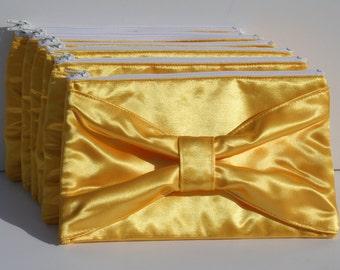 Yellow Satin Clutch Bow Design Satin Formal Evening Bride bridal Clutches Zipper closure