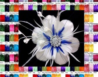 Bridal Fascinator, Feather Bridal Headpiece, Flower Hair Clip, Bridesmaid Headpiece, Wedding Fascinator, Birthday Gift for Her, ART NIRVANI