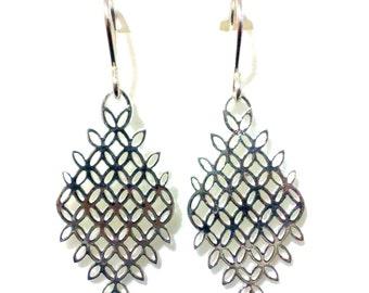 Geometric Dangle Earrings, Sterling Silver Minimalist Jewelry, Rhombus Earrings, Cutout Earrings, LATTICE