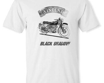 Vintage Vincent Motorcycle Black Shadow Tee Shirt  - Retro look