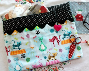 Polka Dot Kitty Cats Cross Stitch, Sewing, Embroidery Project Bag