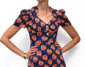 1960s Mini Dress / Blue Mini Dress / Bowl of Fruit / Go Go Dress / Mod Dress / Babydoll Dress / Empire Waist Dress / Blue Dress