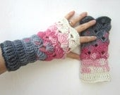 Crochet Fingerless Mittens Wrist Warmers Gloves Pink Shades of Grey Crochet multicolored Accessories Heart Love by dodofit on Etsy