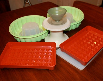 Assorted Vintage Tupperware Serving Bowls Gelatin Molds Parfait Marinate Containers 1960s 1970s