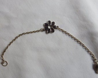 """6 1/4"""" Silver Chain Anklet or Bracelet with Purple Charm"""