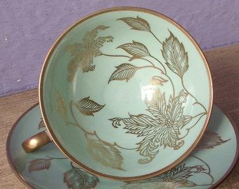 Antique Schumann Arzberg Bavaria tea cup and saucer, pale green tea cup, German porcelain tea cup, green and gold china tea cup saucer