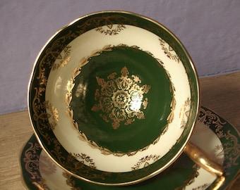 Vintage Irish teacup and saucer, Royal Standard Irish beauty tea cup and saucer, English tea cup, Green Bone china tea cup, St patrick's day