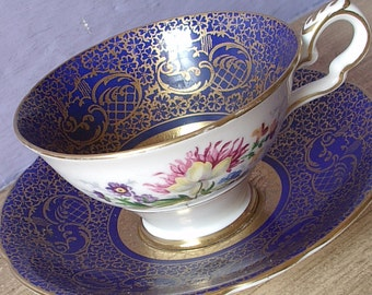 Antique Blue and Gold tea cup, Royal Stafford blue tea cup, English teacup, Antique teacup, Bone china tea cup, Blue Mother's Day gift