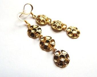 Cascade Long Earrings. Little Charm Honeycomb Earrings. Antique Gold Earrings. Handmade Earrings. Handcrafted Jewelry.