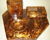 Old VINTAGE Lava Flow CATALIN BAKELITE Desktop Set Vase Pen Holder  Rare Color