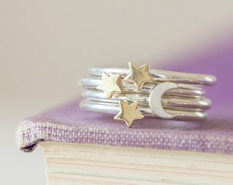 Stacking Rings - Moon Ring - Star rings - Moon and Stars - Sterling Silver Stacking Rings - Gold Stacking Rings - Silver stacking Rings